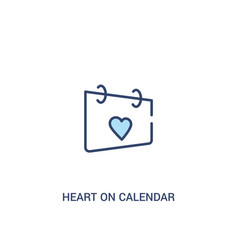 Heart on calendar concept 2 colored icon simple vector
