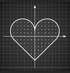 heart shape drawing template with dark background vector image