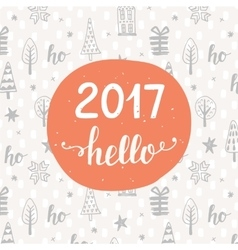 Hello 2017 unique hand lettering on background vector