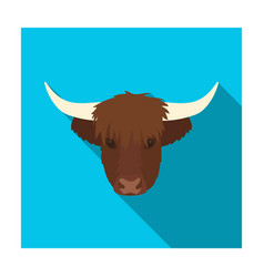 Highland cattle head icon in flat style isolated vector
