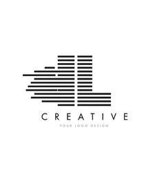 il i l zebra letter logo design with black and vector image