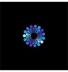 Isolated blue flower logo Round shape vector
