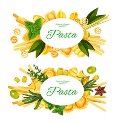 Italian pasta spices herbs and olives vector