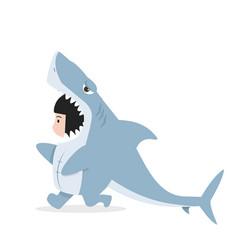Kid characters in shark costume vector