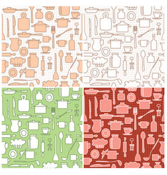 kitchenware on background with squares vector image