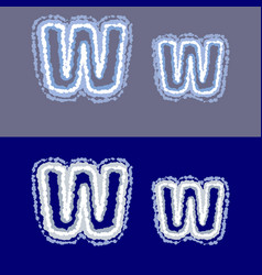 letter w on grey and blue background vector image