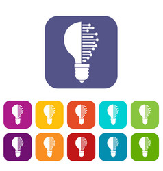Lightbulb with microcircuit icons set flat vector
