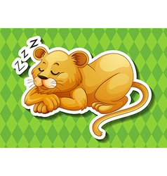 Lion cub sleeping alone vector