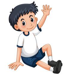 Little boy having arm up vector