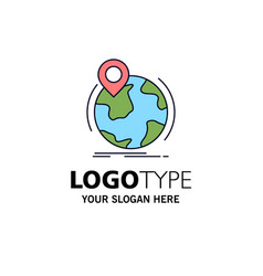 location globe worldwide pin marker flat color vector image