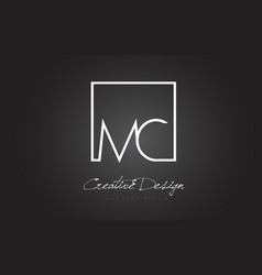 Mc square frame letter logo design with black and vector