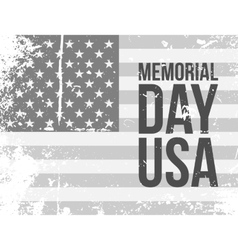 Memorial Day USA Text on grunge Flag vector image