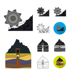mining industry cartoonblackflatmonochrome vector image