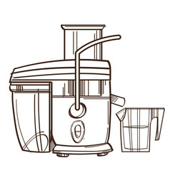 Monochrome juicer juicing machine isolated on vector