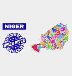 Mosaic technology niger map and scratched niger vector