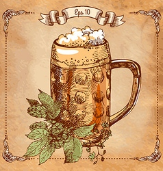 Mug beer hand-drawing vector