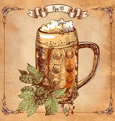 mug of beer hand-drawing vector image