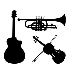 musical instruments silhouettes guitar trumpet vector image