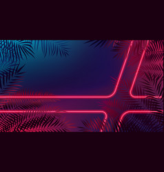 Neon laser rays among tropical leaves futuristic vector