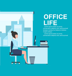 Office life banner with business woman at table vector
