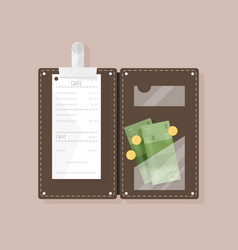 Open bill holder or check presenter with vector