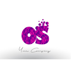 Os o s dots letter logo with purple bubbles vector