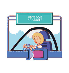 Person driving with wear your seat belt label vector