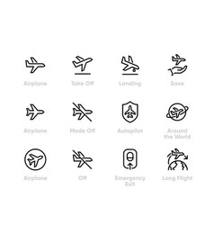 Plane flight icons airplane aircraft vector