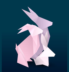 rabbit family couple origami hare vector image