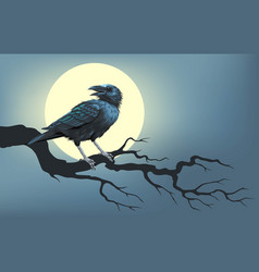 raven on a tree in front moon vector image