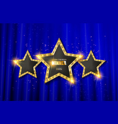 Retro light sign three gold stars vector