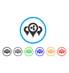 Ripple locations rounded icon vector