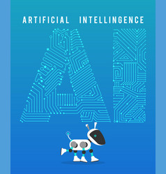 robot and high tech artificial intelligence on vector image