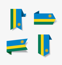 rwandan flag stickers and labels vector image