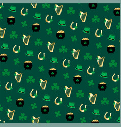 saint patricks day gold he and shamrock pattern vector image