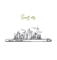 samart city concept hand drawn isolated vector image