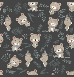 seamless pattern with cute bear in scarf and hat vector image
