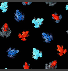 Seamless pattern with vivid tropical frogs vector