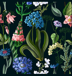 seamless pattern with wild flower vector image