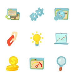 Seo optimization icons set cartoon style vector