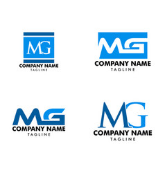 Set initial letter mg logo template design vector
