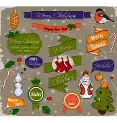 Set of Christmas elements in red green and gold vector image