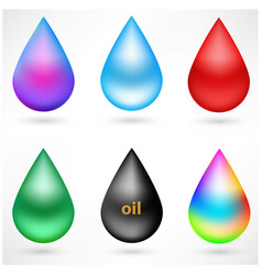 set of drops design elements with signs vector image