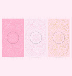 set of flyers in pink color with logo collection vector image