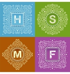 Set of monogram lettering vector image