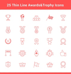 Set of Thin Line Stroke Awards and Trophy Icons vector image