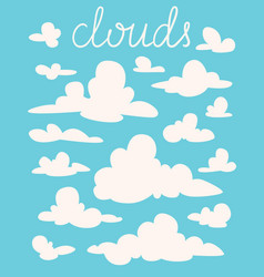 set of white fluffy cartoon clouds on blue vector image