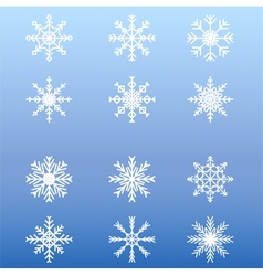 Set of white winter snowflakes on blue background vector image