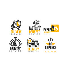 shipping and delivery service logos set vector image