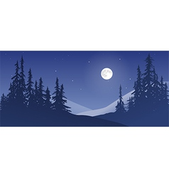 Snowy Landscape with Moon vector image